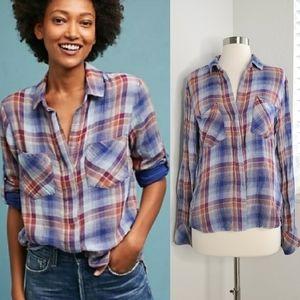 •CLOTH & STONE• Plaid Split Back Button Down Shirt